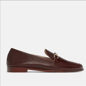 Zara Cognac Brown Leather Loafers